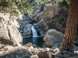 Kings canyon waterfall panorama